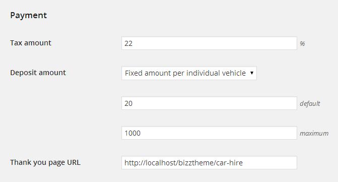 Deposit amount setup in booking settings