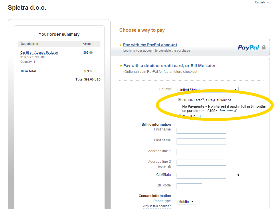 Pay without PayPal account & Bill me Later – BizzThemes™