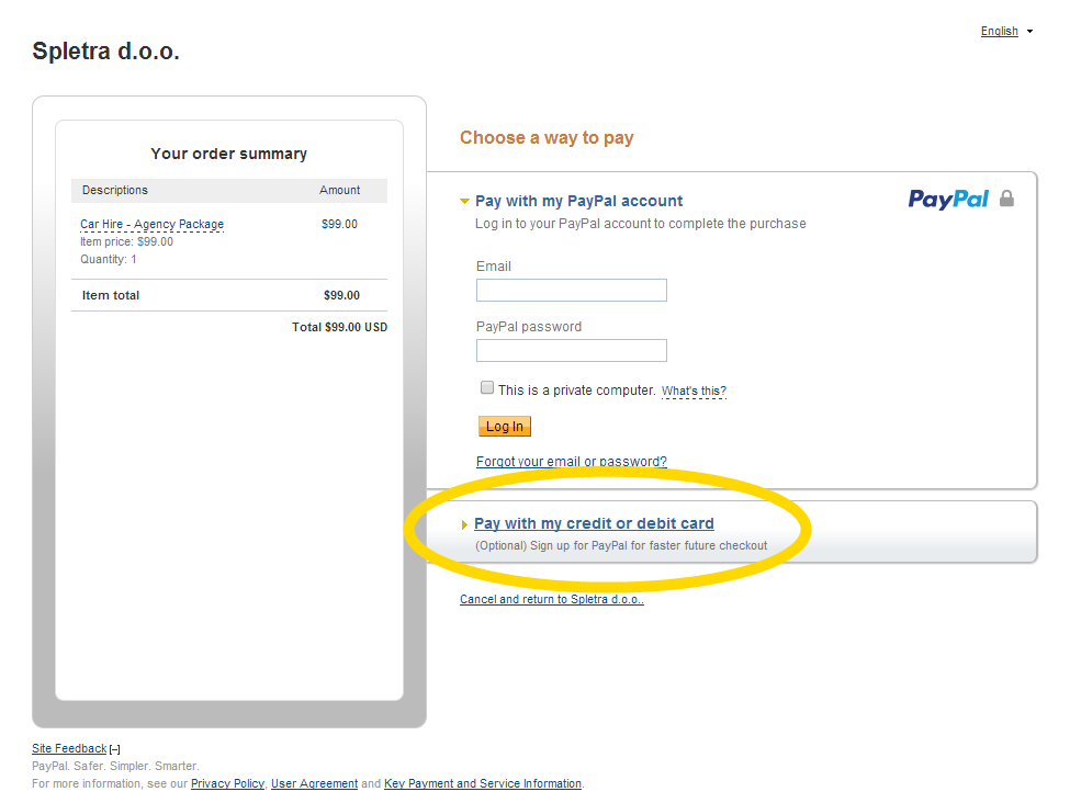 Pay without PayPal account