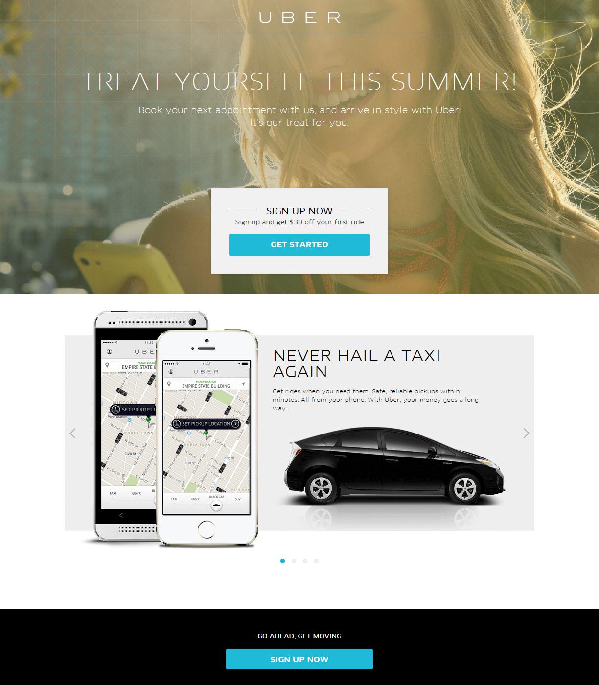 Uber landing page
