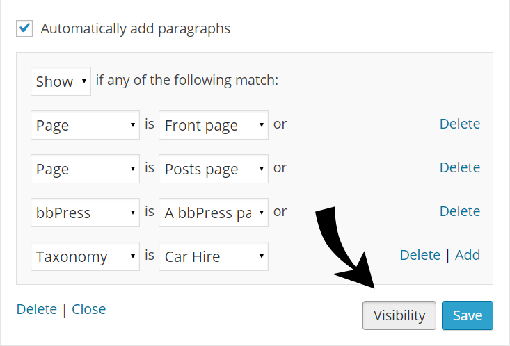 WordPress - Widget Conditional Logic