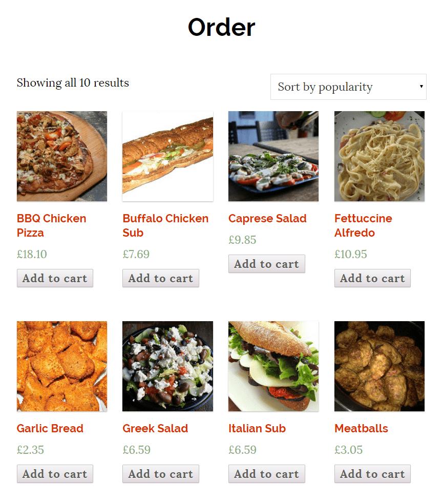 WooCommerce online order