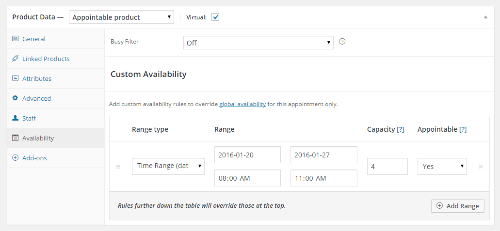 Define capacity rules with availability controls.