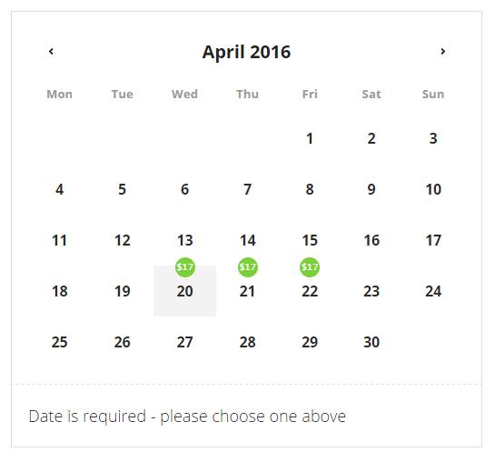 Calendar discounts
