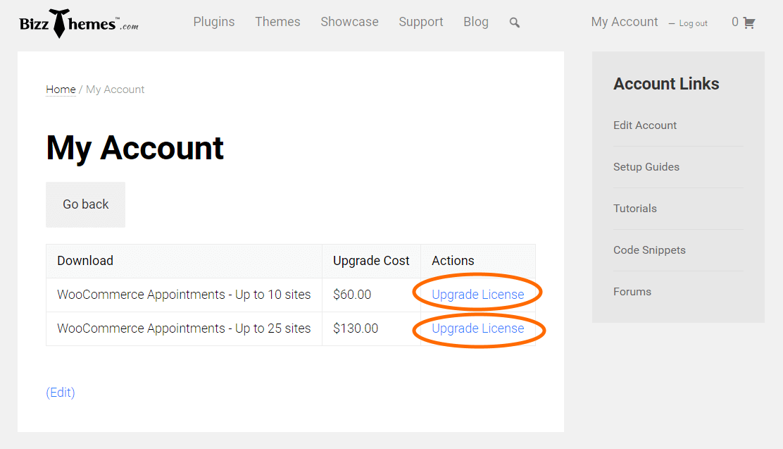 BizzThemes Account Upgrade License