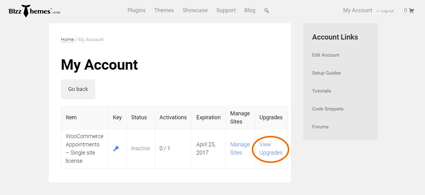 BizzThemes Account Upgrades