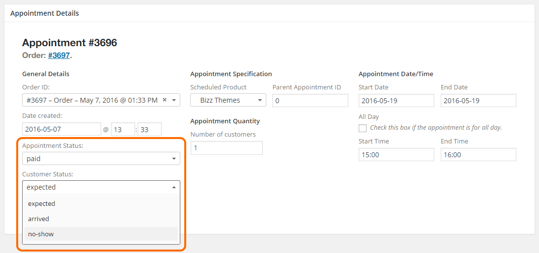 WooCommerce Appointments - Customer status